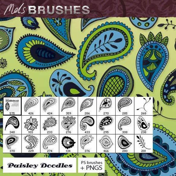 Paisley Doodle Photoshop Brushes