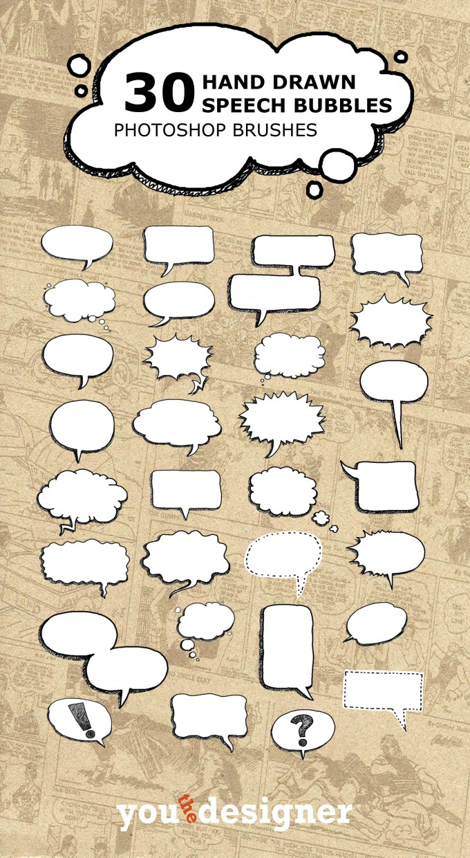 Hand-Drawn-Speech-Bubbles-Brushes-680x1240 3000 pennelli di photoshop in alta risoluzione e free