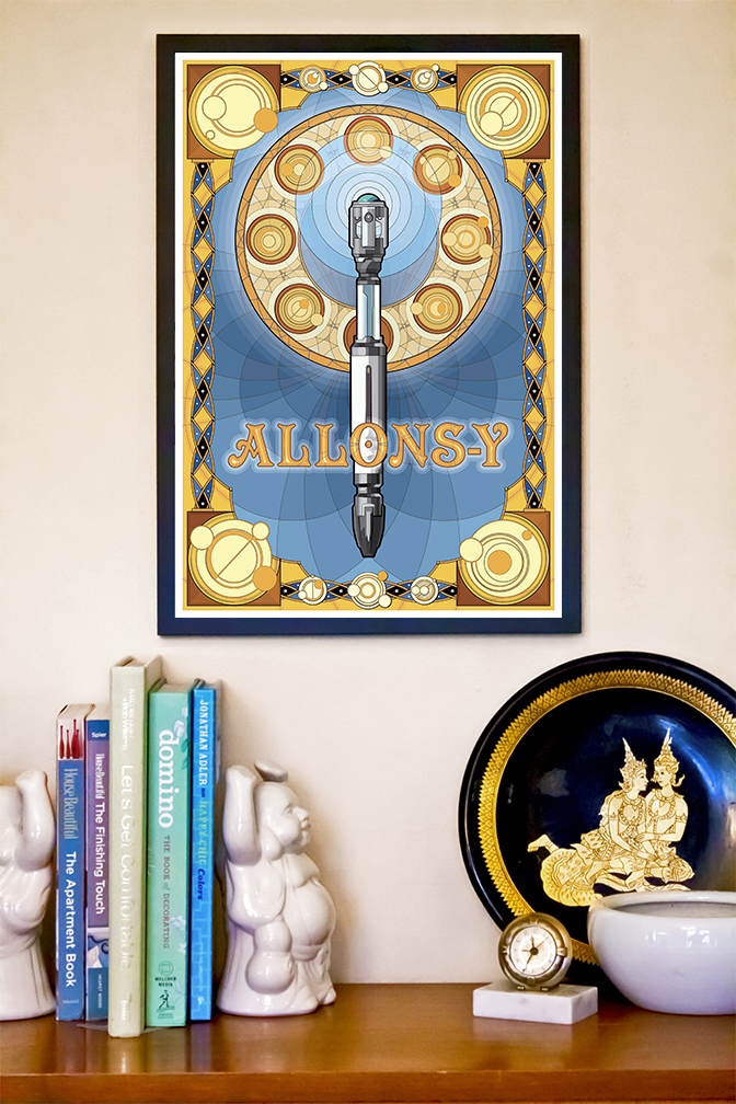 """Newly created art nouveau inspired sonic screwdriver based on the Tenth Doctor's Mark VII design. TARDIS blue and gold color scheme with multiple Gallifreyan glyphs sued as design elements. Poster is complete with the common tenth doctor catch-phrase """"Allons-y""""."""