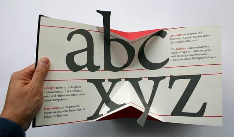 un libro PopUp che spiega la tipografia!