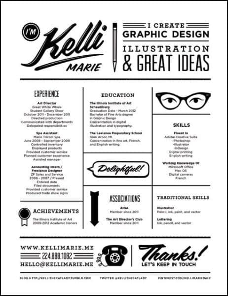 Kelli_Marie_Resume-462x600 Il curriculum del Creativo: 10 esempi da cui trarre ispirazione