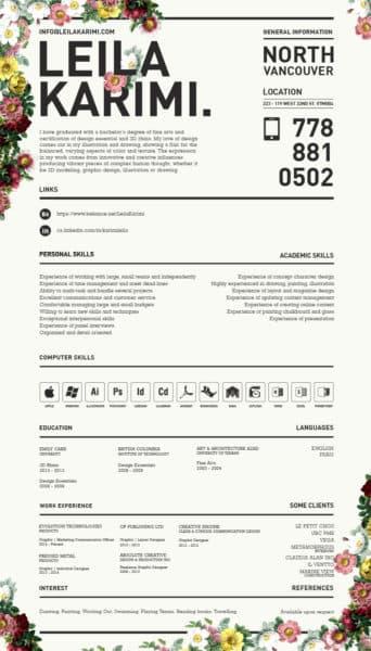 leila-karimi-342x600 Il curriculum del Creativo: 10 esempi da cui trarre ispirazione