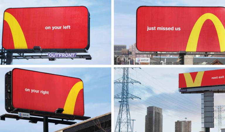I manifesti di McDonald's usano gli iconografici archi dorati per orientarsi