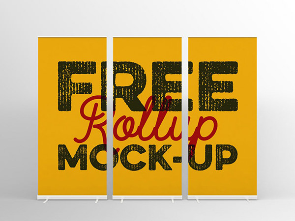 Free Realistic Rollup Banner Stand Mockup