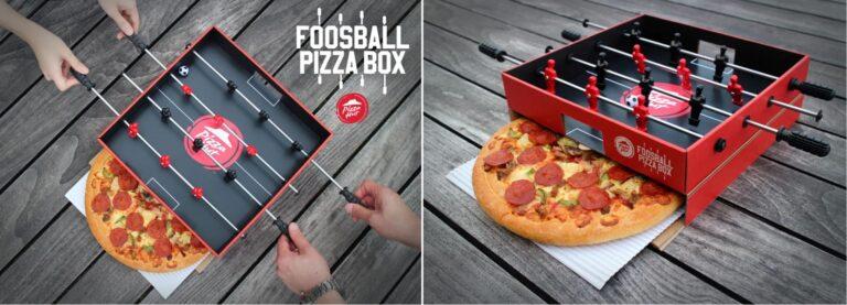 Packaging pazzeschi: scatola di pizza con un biliardino come coperchio!