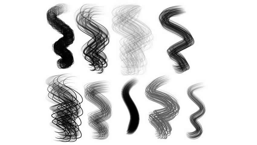Set di spazzole per capelli per Procreate