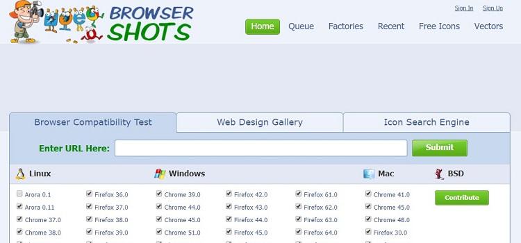 strumento gratuito per testare la compatibilità del browser del sito web