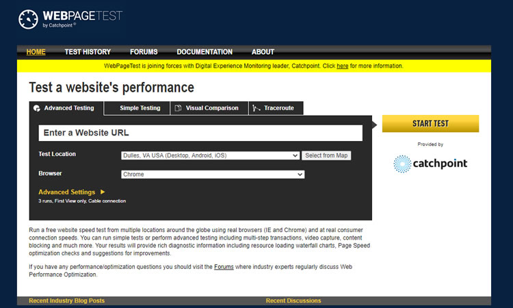 WebpageTest - Strumenti di progettazione gratuiti
